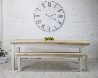 Contemporary Dining table and bench set -  farmhouse table - Reclaimed wood - handmade to any size 7ft 8 seater - weathered oak