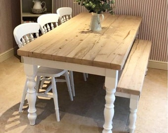 Farmhouse Dining Table Set with bench. Rustic reclaimed wood - handmade kitchen table in any size