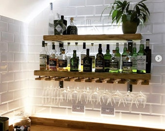 Reclaimed wood made to measure chunky kitchen shelves with brackets, handmade with or without wine glass holder in rustic finish