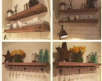 Nice Reclaimed Wood, Made To Measure Chunky Kitchen Shelves. Metal Brackets,  Wine Glass Holders, Industrial, Shelf, Rack, Floating, Custom Rustic