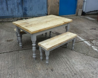 Wonderful 4.5 Foot Rustic Farmhouse Dining Table Set. Thick Reclaimed Wood Top Table  With 2 Benches. Made To Measure, Country Kitchen Chic Painted