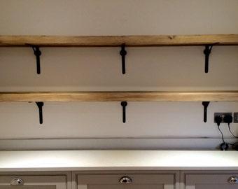 reclaimed wood made to measure chunky kitchen shelves metal brackets wine glass holders industrial shelf rack floating custom rustic - Kitchen Shelves