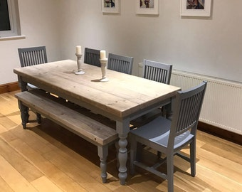 7 foot dining table wide farmhouse dining table with reclaimed wood top and matching bench made to measure custom shabby chic dark grey painted base 7ft seater large reclaimed dining bench made etsy