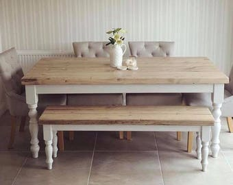 5ft Farmhouse dining table with reclaimed wood top and bench, made to measure custom, light grey shabby chic farrow & ball painted 6 seater