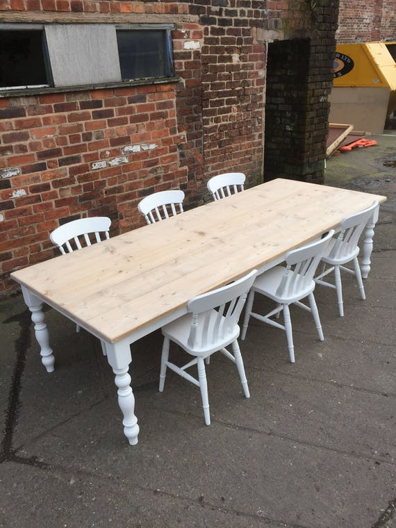 Incredible Large 10 Seater Farmhouse Dining Table Set 9Ft Reclaimed Wood Top With White Painted Base And 2 Drawers And 6 Chairs Made To Any Size Uwap Interior Chair Design Uwaporg