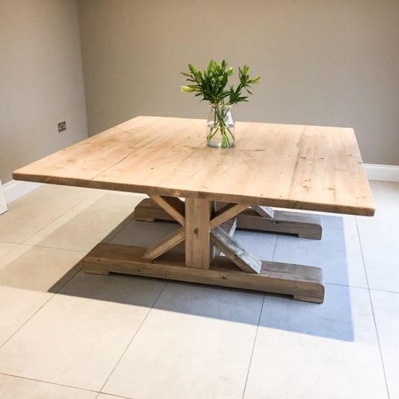 Extra Large 6ft Square Rustic Dining Table With Trestle Style Etsy