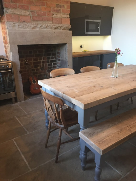 Cool Large Reclaimed Wood Dining Table Matching Bench Made To Measure 7 Foot 2 1M Thick Chunky Top Moles Breath Grey Painted Farmhouse Base Pabps2019 Chair Design Images Pabps2019Com