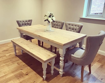 6ft Farmhouse dining table with matching bench and 4 upholstered chairs in light grey fabric. 6 to 8 seater table with Reclaimed wood top
