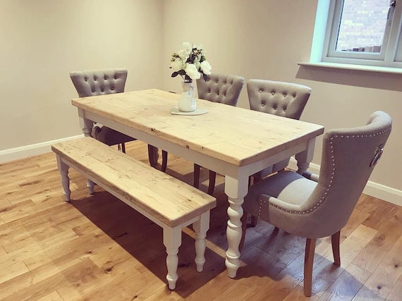 Sensational 6Ft Farmhouse Dining Table With Matching Bench And 4 Upholstered Chairs In Light Grey Fabric 6 To 8 Seater Table With Reclaimed Wood Top Gmtry Best Dining Table And Chair Ideas Images Gmtryco