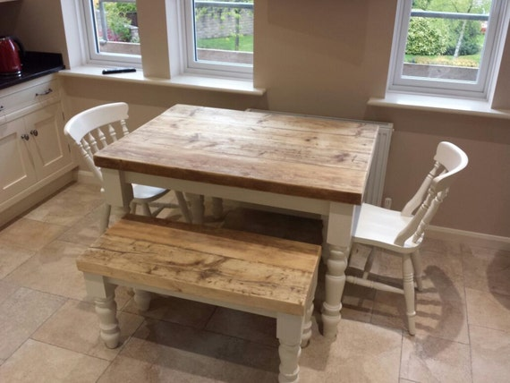 4ft Farmhouse Dining Table Set With 2 Benches And 2 Chairs 6 Etsy