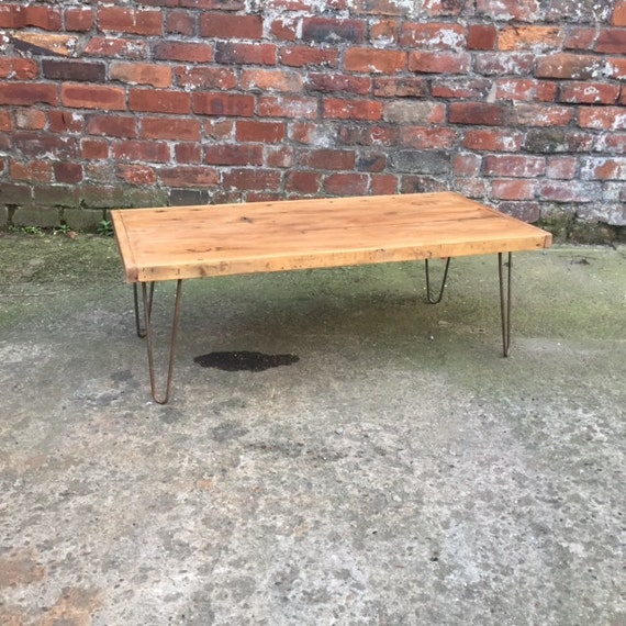 Miraculous Reclaimed Wood Top Hairpin Coffee Table Low Level Table Tv Console Side Unit Rustic Top Steel Industrial Hair Pin Legs Oak Stain Uwap Interior Chair Design Uwaporg