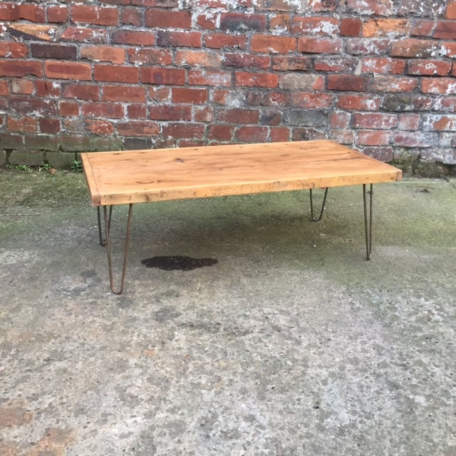 Reclaimed Wood Top Hairpin Coffee Table. Low Level Table