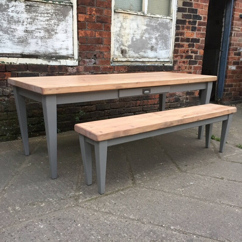 Magnificent Rustic Tapered Leg Dining Table Matching Bench Chunky Reclaimed Solid Wood Top Finished In Light Oak 2 Drawers Farmhouse Grey 7 Foot Pabps2019 Chair Design Images Pabps2019Com