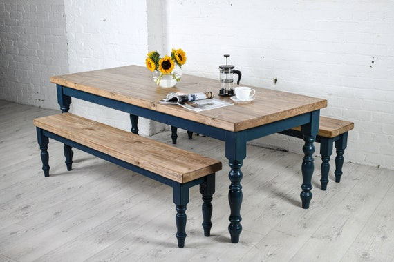 Farmhouse dining table and bench set - Rustic kitchen table, thick  reclaimed top - handmade in any size