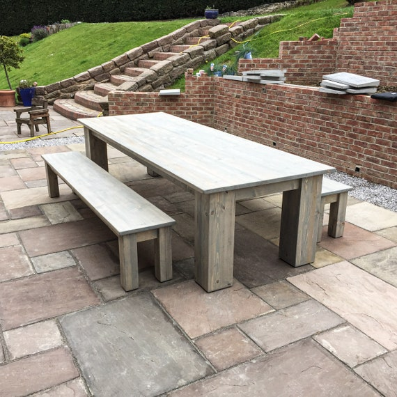 Groovy Large 12 Seater Garden Dining Table With 2 Matching Benches Solid Reclaimed Wood Frame Chunky Square Rustic Legs Ibusinesslaw Wood Chair Design Ideas Ibusinesslaworg