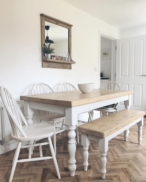 5ft Farmhouse Dining Table Set Rustic Table With Bench And 4 Etsy