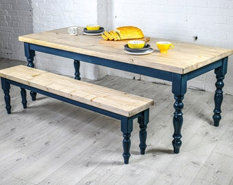 Scrub top Farmhouse Dining Table Set with benches - rustic - reclaimed timber - handmade - kitchen table - any size