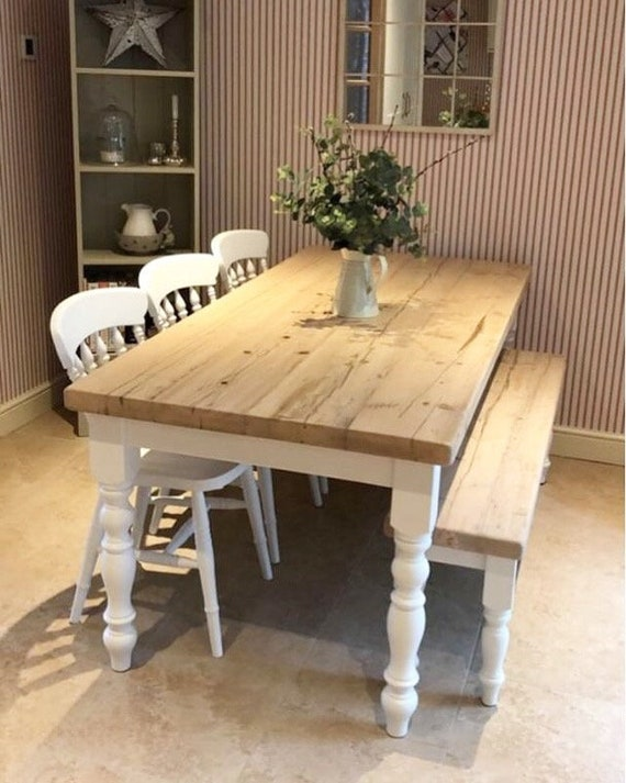 Farmhouse Dining Table Set With Bench Rustic Reclaimed Wood Etsy