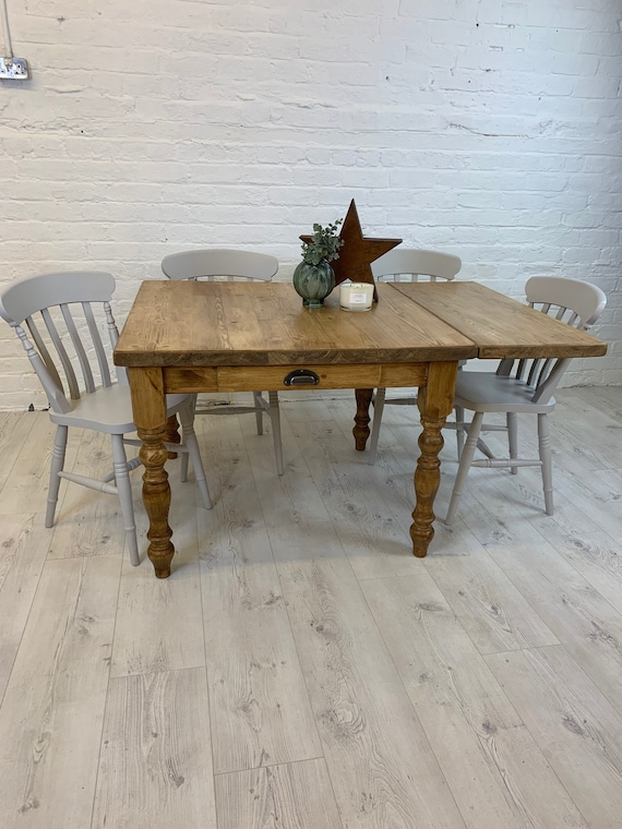 Small Square Farmhouse Dining Table With Extendable Leaf And 4 Chairs Dining Set Handmade In Any Colour Or Size