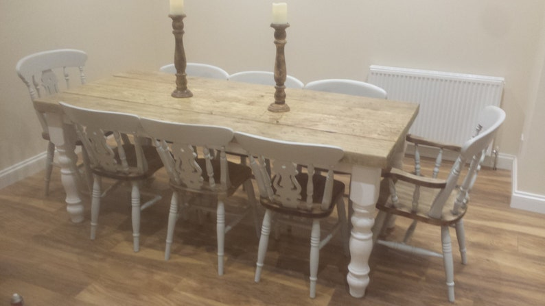 24cf6703c Rustic 8 seater Farmhouse dining table with reclaimed top and