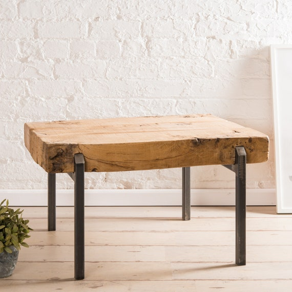 Amazing Pinch Coffee Table With Reclaimed Oak Slab Plank Top And Metal Frame Industrial Design And Thick Rustic Finish Wood Top Hand Made Any Size Short Links Chair Design For Home Short Linksinfo