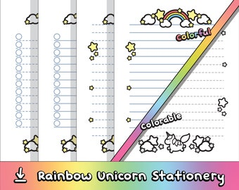 Download & Print: Rainbow Unicorn Stationery (8 Pages)