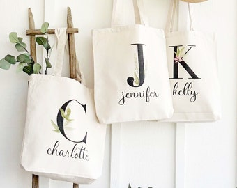 Monogrammed Watercolor Bag | Watercolor Canvas Tote Bag | Personalized Name Shopping Bag | Personalized Gift for Her | Girl Graduation Gift