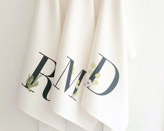 Monogrammed Personalized Tea Towel   Bridal Shower Hostess Gifts under 20   Teacher Gift   Unique Gifts for Her   Monogram Gifts Bride