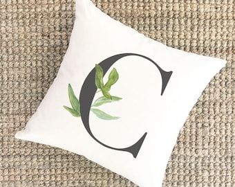 Watercolor Pillow Monogram C | Bridal Shower Gift for Bride | Unique Wedding Gift for Couple | Cotton Anniversary Gift | Unique Gift for Mom