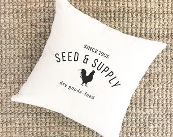 Seed and Supply Pillow | Farmhouse Throw Pillow Cover | Canvas Farmhouse Pillow | Cabin Decor Pillow | Decorative Burlap Pillow Cover
