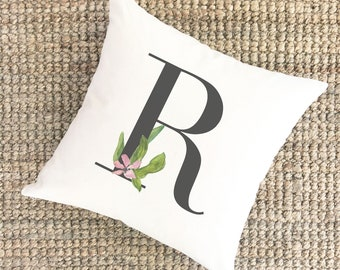 Watercolor Pillow Monogram R | Bridal Shower Gift for Bride | Unique Wedding Gift for Couple | Cotton Anniversary Gift | Unique Gift for Mom