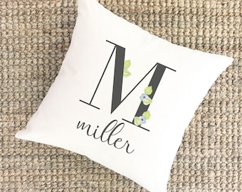 Watercolor Pillow Monogram M | Bridal Shower Gift for Bride | Unique Wedding Gift for Couple | Cotton Anniversary Gift | Unique Gift for Mom