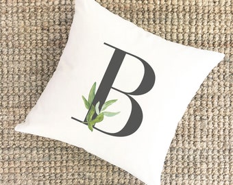 Watercolor Pillow Monogram B | Bridal Shower Gift for Bride | Unique Wedding Gift for Couple | Cotton Anniversary Gift | Unique Gift for Mom