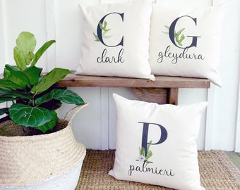 Watercolor Monogram Organic Canvas Pillow | Unique Mothers Day Gift for Mom | Bridal Shower Gift for Bride | Unique Wedding Gift for Couple