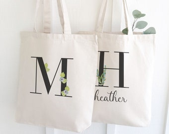Monogrammed Bridesmaids Tote | Bridal Party Gift Canvas Tote Bag | Personalized Bridesmaids Totes Gifts | Bachelorette Party Favors Gifts