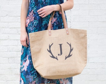 Monogrammed Tote Weekender Bag | Hostess Gift for Her under 50 | Personalized Gift for Women Tote with Pocket Zippered Tote Antler Monogram