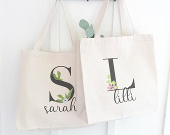 Watercolor Monogrammed Canvas Tote Bag, Personalized Shopper Totes with Names. Heavy Duty Reinforced Webbing Straps and Deep Base.