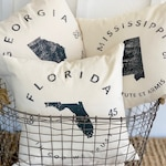 Custom State Pillows In Any State,  State Pride Home Gift , New Homeowner Housewarming Gift from Realtor, 18 x 18 Pillow with Insert