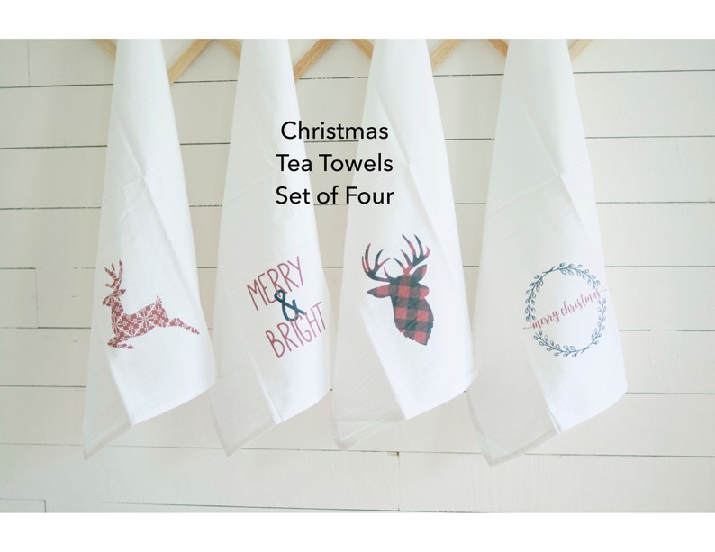 Set of Four Christmas Flour Sack Tea Towels Hanging Loop Dish image 0
