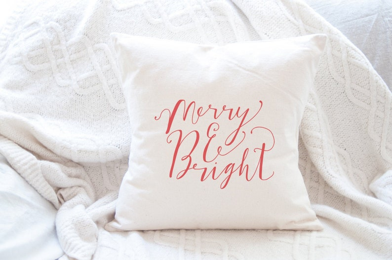 Red Hand Lettered Merry and Bright Christmas Pillows image 0