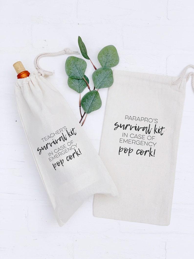 Teachers Survival Kit Canvas Drawstring Wine Bag Funny image 0