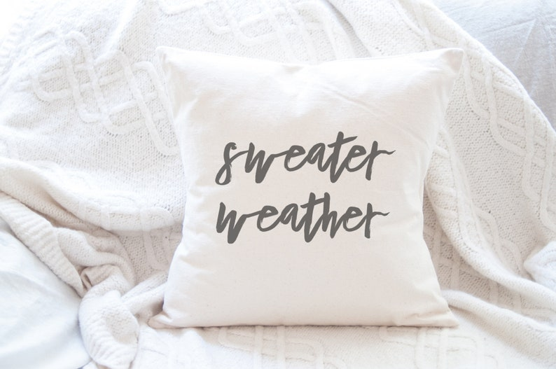 Sweater Weather Canvas Pillow 18x18 in cushion cover with image 0