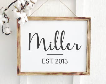 Cursive Last Name | Last Name Sign | Important Dates | Anniversary Gift for Him | 5th Anniversary Wood Anniversary | Wooden Office Sign