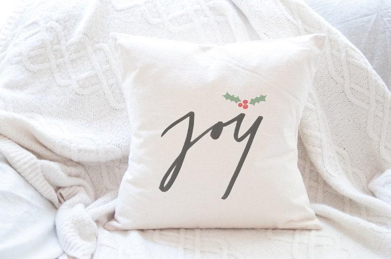 Farmhouse Christmas Pillow Cover Joy with Holly Christmas image 0