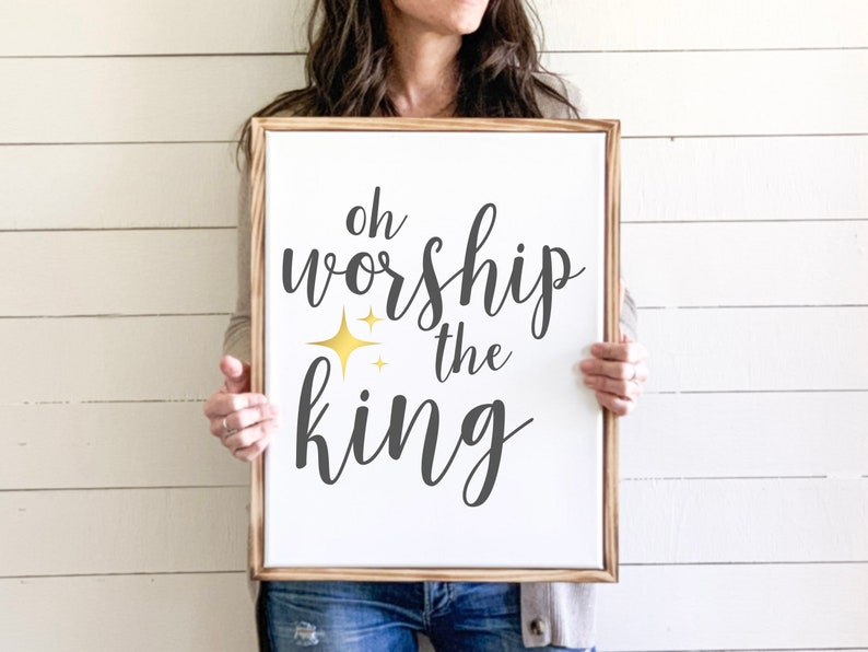 Oh Worship the King Sign Inspirational Canvas Print image 0