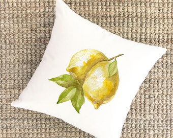 Watercolor Lemons Citrus Print Pillow | Easter Pillow | Organic Canvas Pillow | Easter Gift | Spring Gift for Mom | Mothers Day Gift for Mom