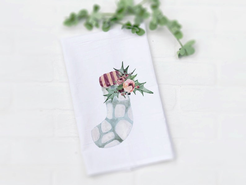Watercolor Stocking with Holly Leaf Tea Towel Cute Watercolor image 0