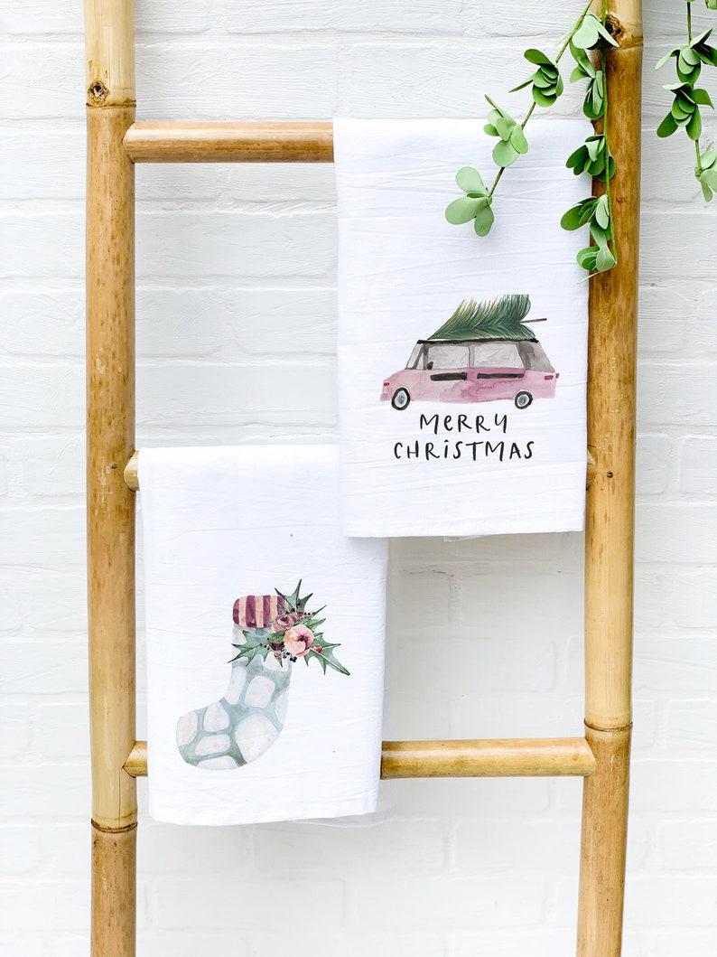 Set of 2 Cotton Christmas Tea Towels Farmhouse Holiday Dish image 0
