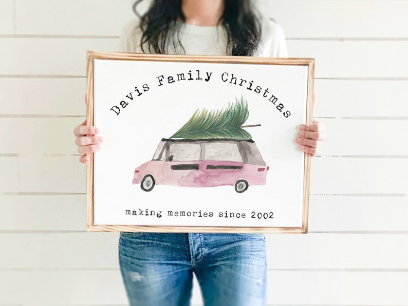 Christmas Tree Van Framed Sign Holiday Memories Farmhouse image 0