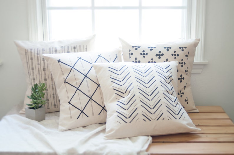 Mud Cloth Inspired Pattern Pillows Southwestern Decor Rustic image 0